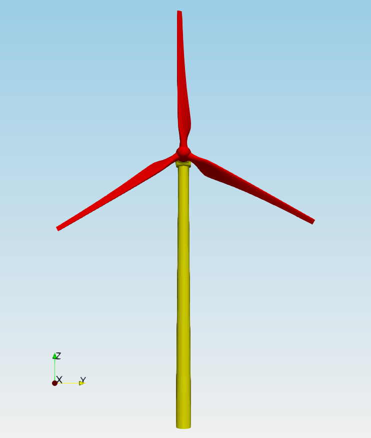 TCFD Wind Turbine tutorial geometry front view