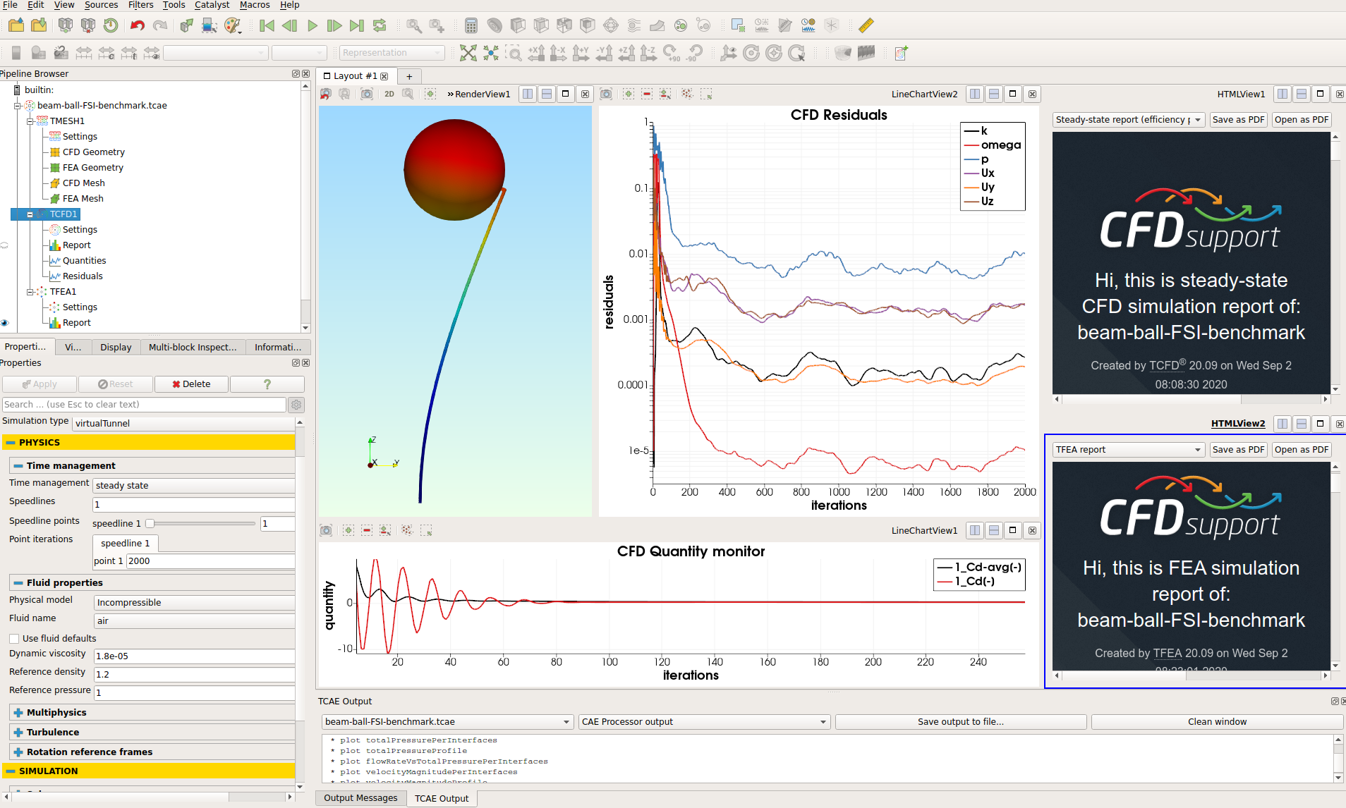 TCAE tutorial Beam-Ball FSI simulation interface