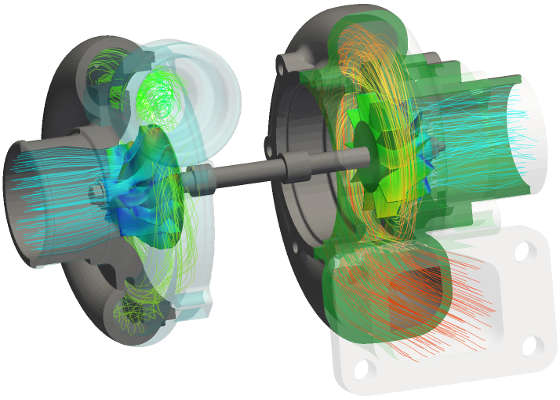 turbocharger OpenFOAM CFD temperature streamlines transparent